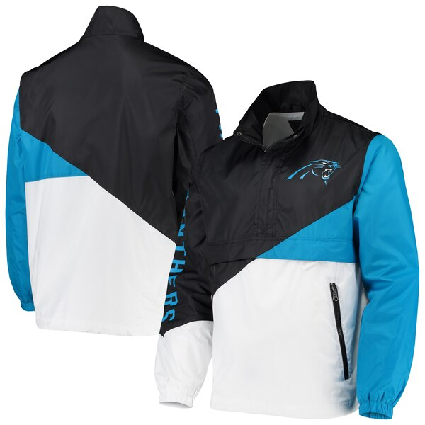 NFL パンサーズ ジャケット/アウター ダブル チーム ハーフジップ プルオーバー G-III ブラック ホワイト