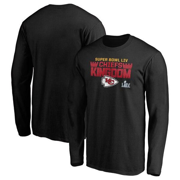スーパーボウル進出 NFL チーフス Tシャツ 第54回スーパーボウル出場 ホームタウン ファイナル ドライブ ロングスリーブ ブラック