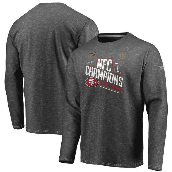 スーパーボウル進出 NFL 49ers Tシャツ 2019 NFC 優勝 トロフィーコレクション ロッカールーム ロング スリーブ ヘザーチャコール