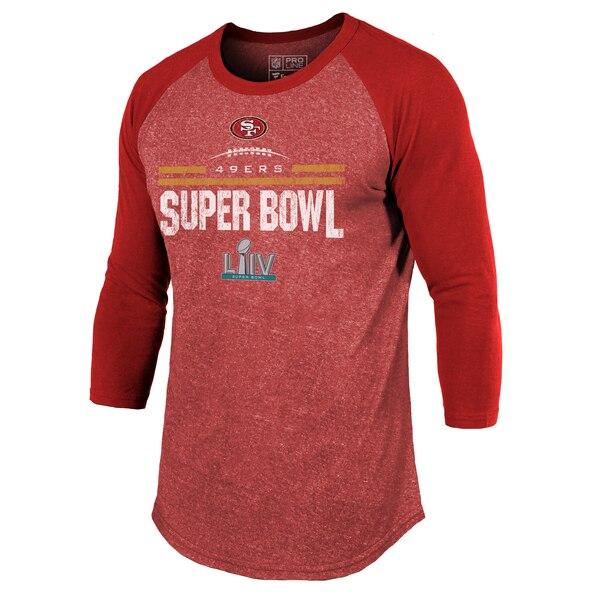 スーパーボウル進出 NFL 49ers Tシャツ 第54回スーパーボウル出場 ゴール ライン スタンド 3/4 スリーブ トライブレンド ラグラン スカーレット