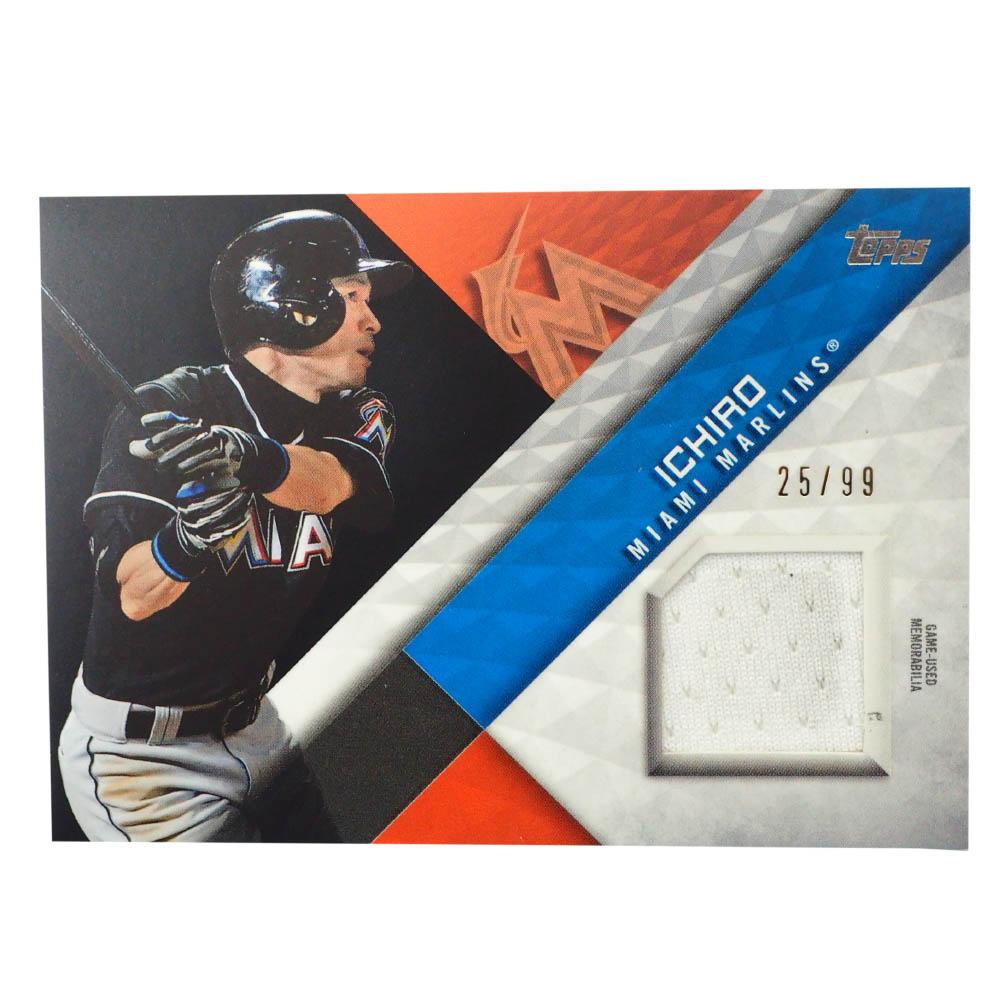 MLB イチロー マイアミ・マーリンズ トレーディングカード/スポーツカード 2018 ユーズド メモラビリア ジャージ ホワイト 25/99 Topps