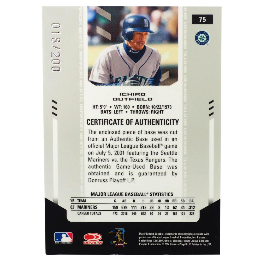 MLB イチロー シアトル・マリナーズ トレーディングカード/スポーツカード 2004 #75 ゲーム ユーズド ベース 18/200 Donruss