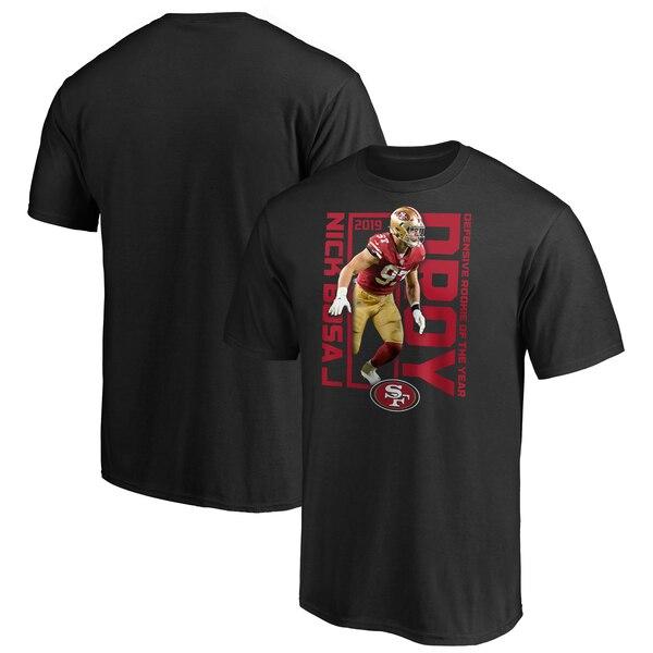 NFL ニック・ボーザ 49ers Tシャツ 2019 NFL ディフェンシブ ルーキー オブ ザ イヤー プレーヤー ブラック