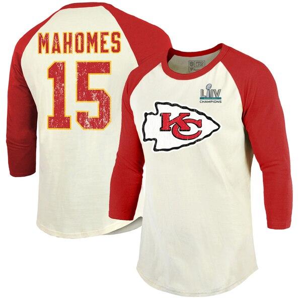 NFL パトリック・マホームズ チーフス Tシャツ 第54回 スーパーボウル 優勝記念 ネーム & ナンバー 3/4スリーブ ラグラン