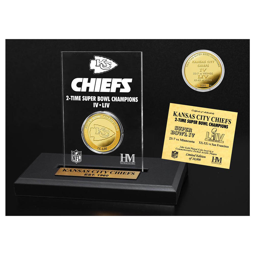 NFL チーフス 第54回 スーパーボウル 優勝記念 2-Time 24KT Gold Coin Acrylic コイン フォトスタンド The Highland Mint ゴールド