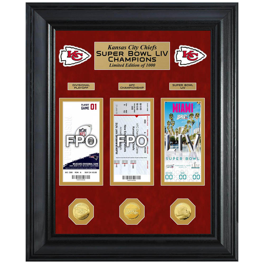 NFL チーフス 第54回 スーパーボウル 優勝記念 Deluxe Gold Coin & Ticket コインスタンド The Highland Mint ゴールド