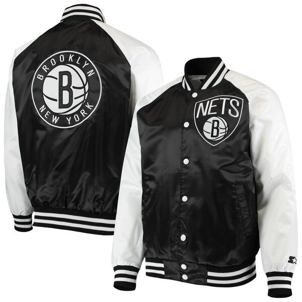 NBA ブルックリン・ネッツ ジャケット/アウター ポイント ガード サテン フルスナップ STARTER ブラック/ホワイト