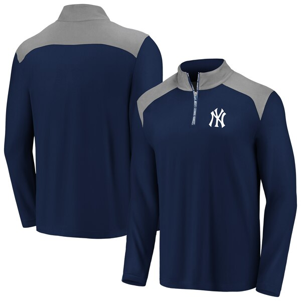 MLB ニューヨーク・ヤンキース ジャケット/アウター アイコニック クラッチ クオータージップ プルオーバー ネイビー/グレー