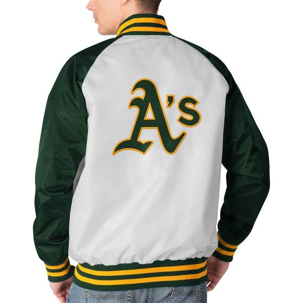 MLB オークランド・アスレチックス ジャケット アウター クリーンアップ ヒッター フルスナップ STARTER ホワイト グリーン34jqcARL5