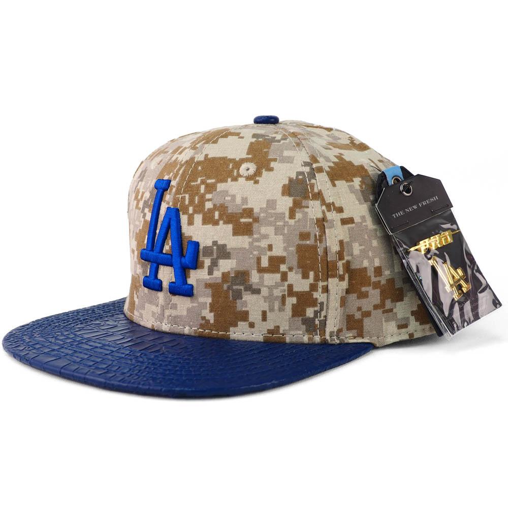 MLB ロサンゼルス・ドジャース キャップ/帽子 デジタル カモ ストラップバック レザー Pro Standard カモ/ロイヤル