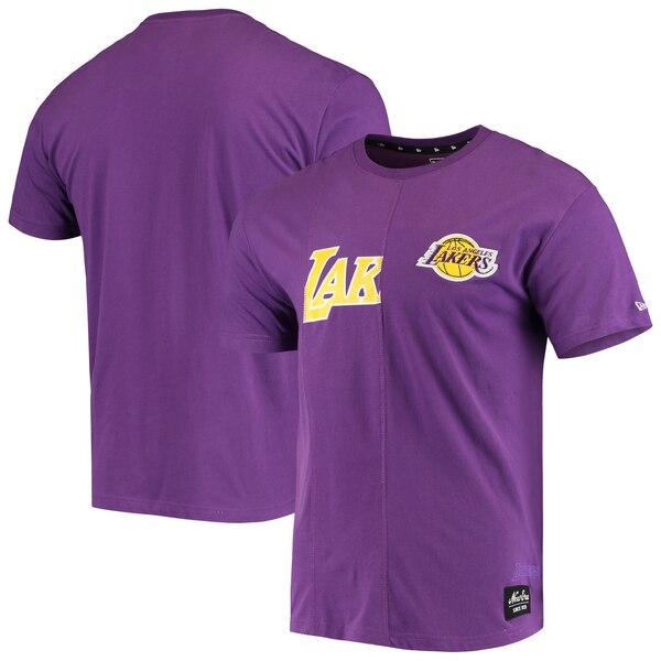 NBA ロサンゼルス・レイカーズ Tシャツ Wordmark Logo Cut & Sew Applique Brushed T-Shirt ニューエラ/New Era パープル