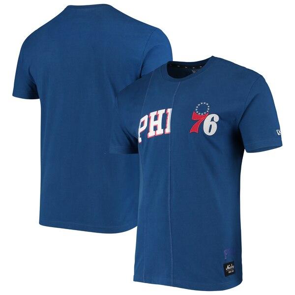 NBA フィラデルフィア・76ers Tシャツ Wordmark Logo Cut & Sew Applique Brushed T-Shirt ニューエラ/New Era ロイヤル