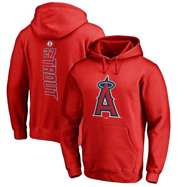 MLB マイク・トラウト ロサンゼルス・エンゼルス パーカー/フーディー バッカー プルオーバー レッド