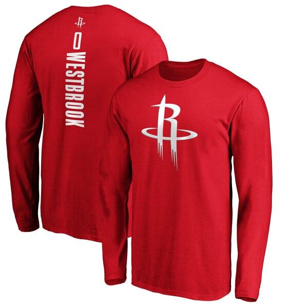 NBA ラッセル・ウェストブルック ヒューストン・ロケッツ Tシャツ プレーメーカー ネーム & ナンバー ロングスリーブ レッド
