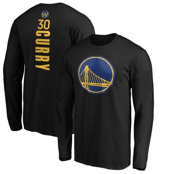 NBA ステファン・カリー ゴールデンステイト・ウォリアーズ Tシャツ プレーメーカー ネーム & ナンバー ロングスリーブ ブラック