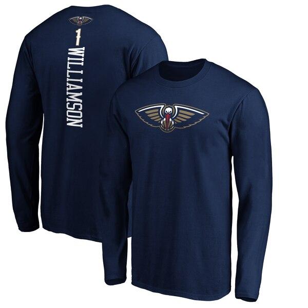 NBA ザイオン・ウィリアムソン ニューオーリンズ・ペリカンズ Tシャツ プレーメーカー ネーム & ナンバー ロングスリーブ ネイビー