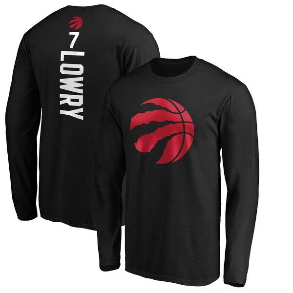 NBA カイル・ロウリー トロント・ラプターズ Tシャツ プレーメーカー ネーム & ナンバー ロングスリーブ ブラック