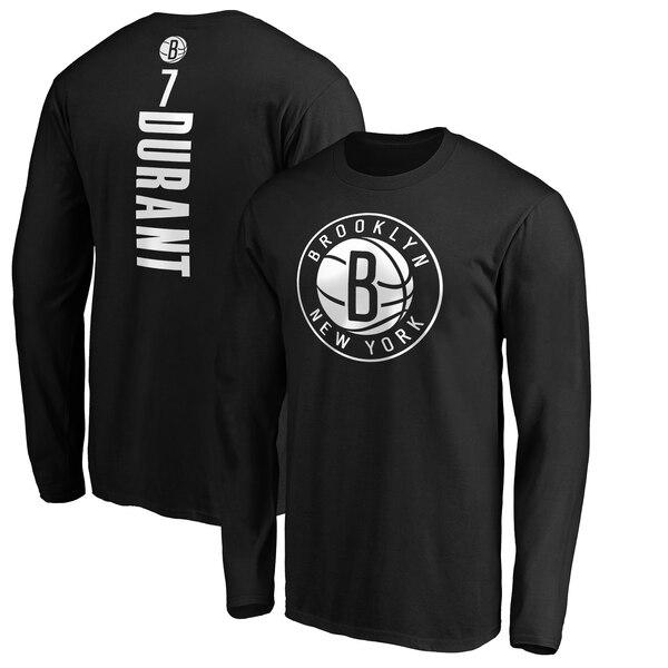 NBA ケビン・デュラント ブルックリン・ネッツ Tシャツ プレーメーカー ネーム & ナンバー ロングスリーブ ブラック