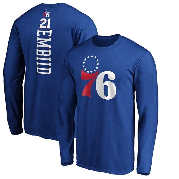 NBA ジョエル・エンビード フィラデルフィア・76ers Tシャツ プレーメーカー ネーム & ナンバー ロングスリーブ ロイヤル