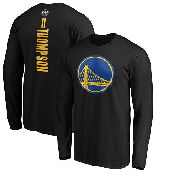 NBA クレイ・トンプソン ゴールデンステイト・ウォリアーズ Tシャツ プレーメーカー ネーム & ナンバー ロングスリーブ ブラック