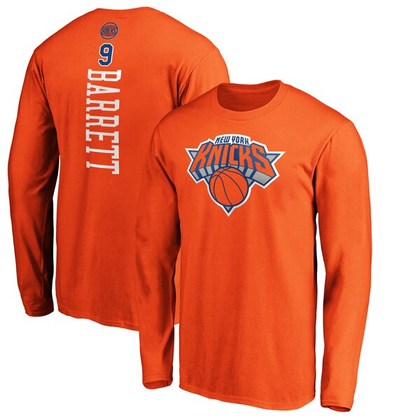 NBA R・J・バレット ニューヨーク・ニックス Tシャツ プレーメーカー ネーム & ナンバー ロングスリーブ オレンジ