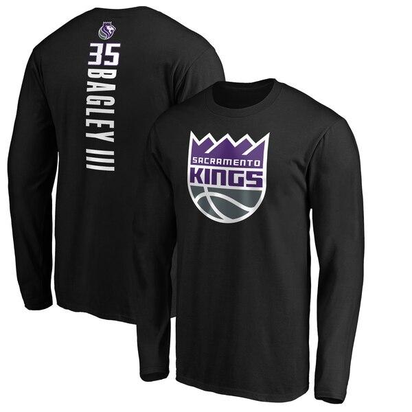 NBA マービン・バグリー III サクラメント・キングス Tシャツ プレーメーカー ネーム & ナンバー ロングスリーブ ブラック