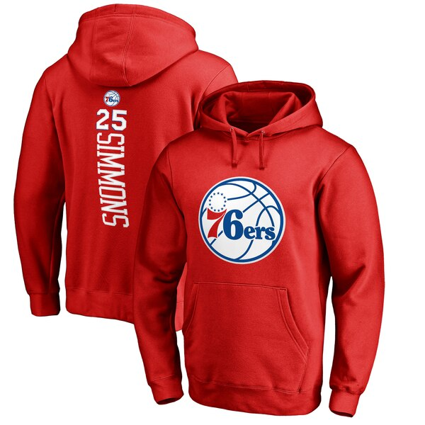 NBA ベン・シモンズ フィラデルフィア・76ers パーカー/フーディー バッカー ネーム & ナンバー プルオーバー レッド