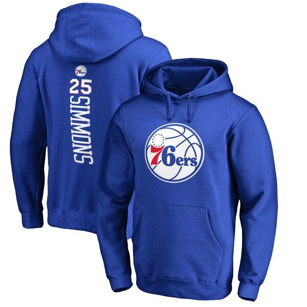 NBA ベン・シモンズ フィラデルフィア・76ers パーカー/フーディー バッカー ネーム & ナンバー プルオーバー ロイヤル