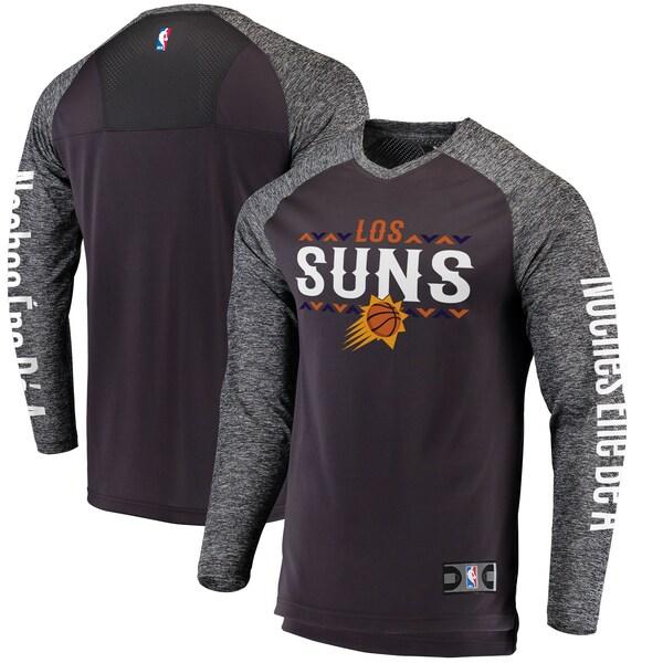 NBA フェニックス・サンズ Tシャツ Noches Ene-Be-A Authentic Shooting Shirt ロングスリーブ ヘザーグレー