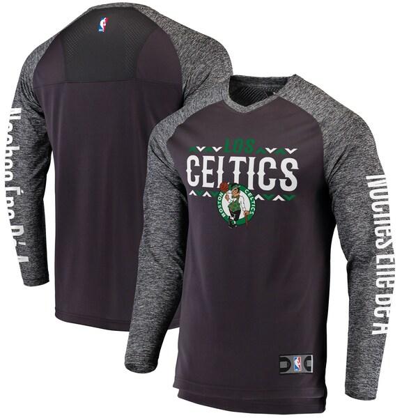 NBA ボストン・セルティックス Tシャツ Noches Ene-Be-A Authentic Shooting Shirt ロングスリーブ ヘザーグレー