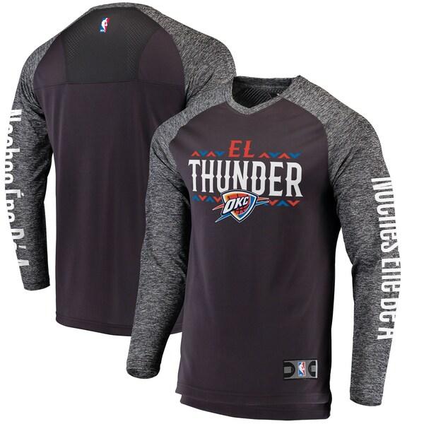 NBA オクラホマシティ・サンダー Tシャツ Noches Ene-Be-A Authentic Shooting Shirt ロングスリーブ ヘザーグレー