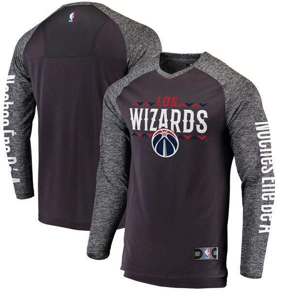 八村塁選手所属 ウィザーズ NBA Tシャツ Noches Ene-Be-A Authentic Shooting Shirt ロングスリーブ ヘザーグレー