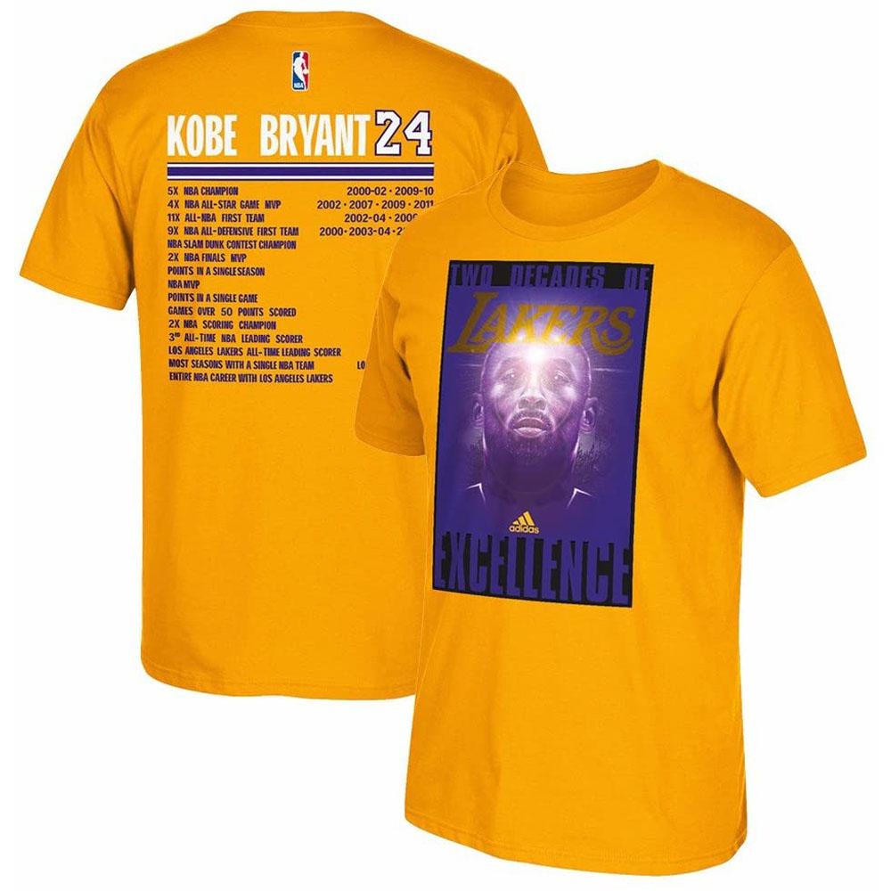 NBA コービー・ブライアント ロサンゼルス・レイカーズ Tシャツ Two Decades of Excellence T-Shirt アディダス/Adidas ゴールド