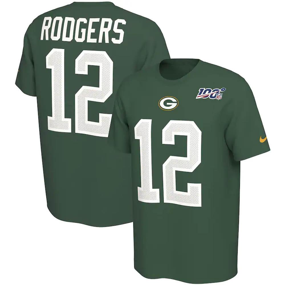 NFL アーロン・ロジャース パッカーズ Tシャツ NFL100 ドライフィット ネーム & ナンバー ナイキ/Nike グリーン