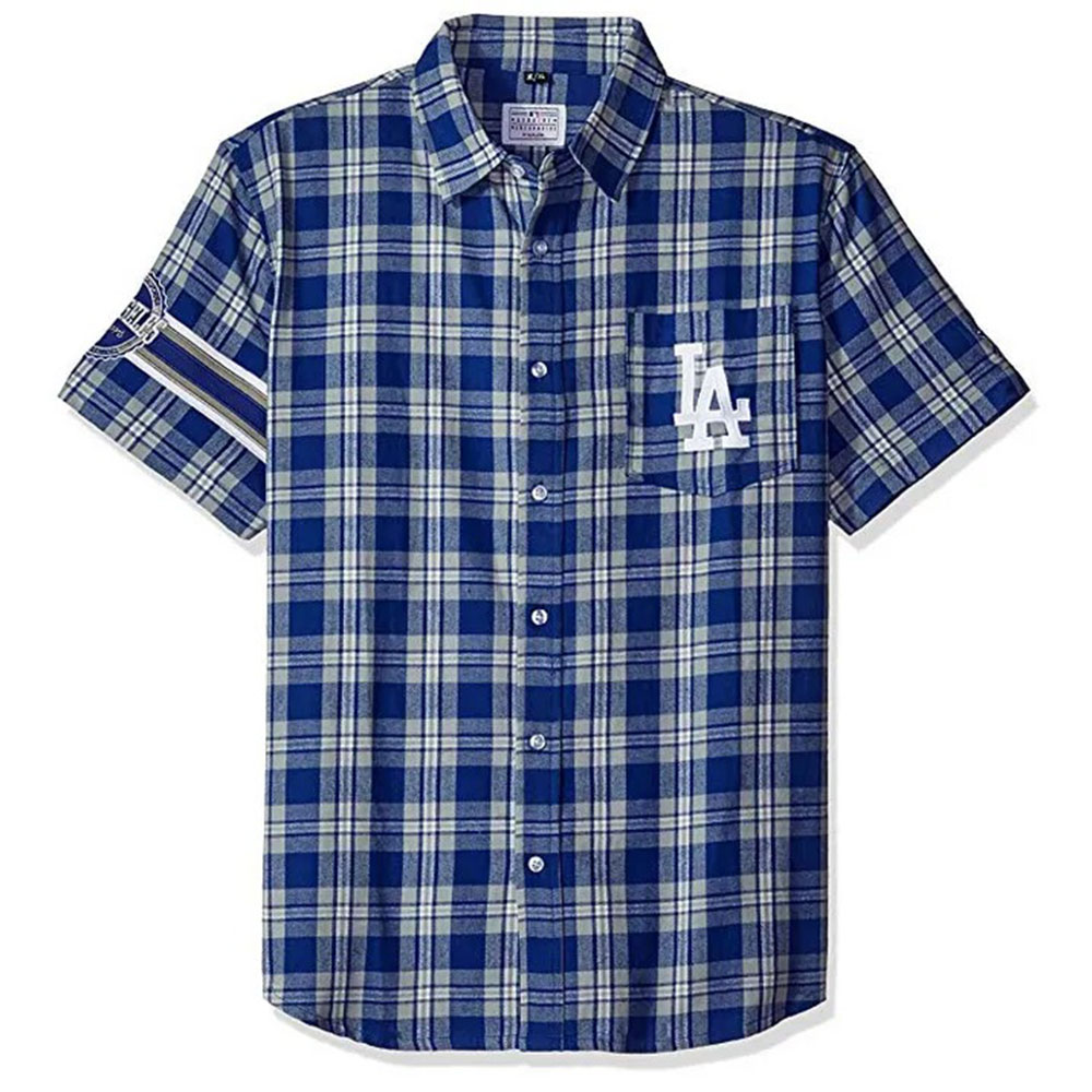 MLB ロサンゼルス・ドジャース Wordmark Flannel Short Sleeve Button-Up Shirt