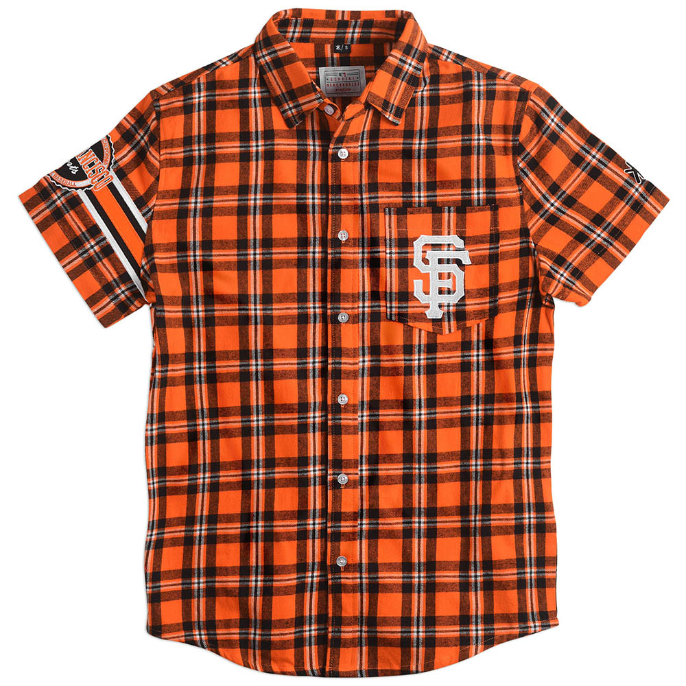MLB サンフランシスコ・ジャイアンツ Wordmark Flannel Short Sleeve Button-Up Shirt
