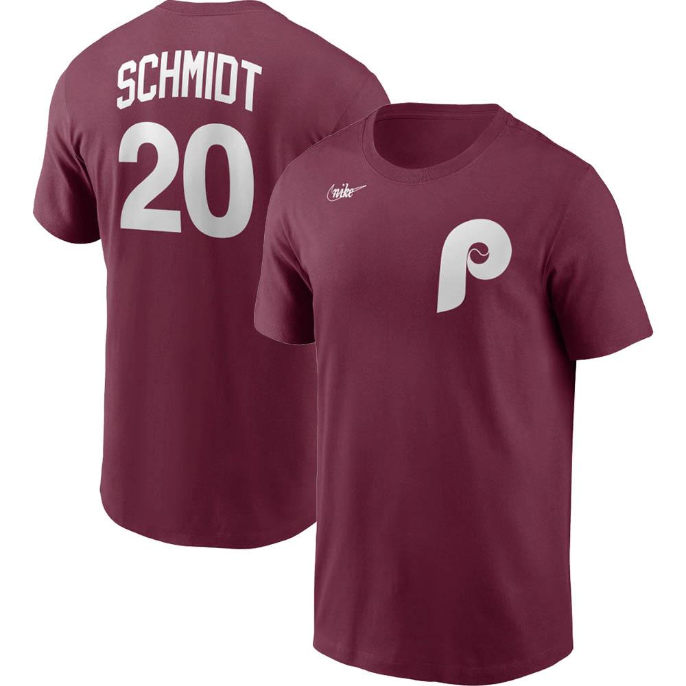 あす楽対応 MLB x Nike レジェンドプレーヤー Tシャツ マイク シュミット クーパーズタウン 舗 直営ストア ネーム フィラデルフィア フィリーズ ナンバー マルーン ナイキ