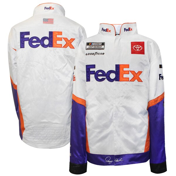 NASCAR デニー・ハムリン フェデックス ジャケット/アウター Full Snap Pit Jacket SMI Properties ホワイト