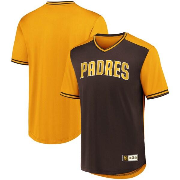 ユニフォーム風デザインのMLBチームTシャツ 激安特価品 MLB ランキングTOP5 サンディエゴ パドレス Tシャツ アイコニック ゴールド ウォークオフ Vネック ブラウン ジャージ