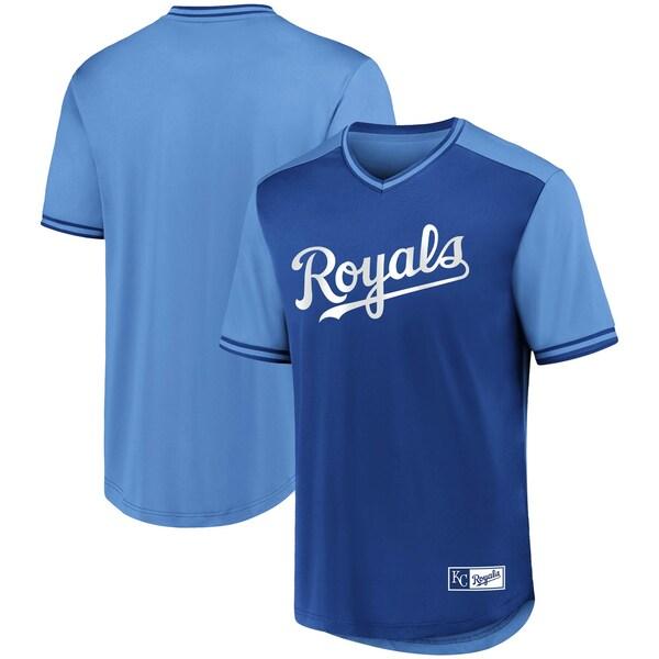ユニフォーム風デザインのMLBチームTシャツ MLB カンザスシティ ロイヤルズ Tシャツ アイコニック ウォークオフ Vネック 豪華な 贈答品 ロイヤル ジャージ ブルー