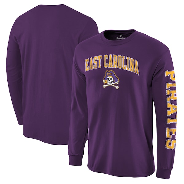 プロ並みの人気を誇る NCAAアーチオーバーロゴロングTEE NCAA イーストカロライナ大学 パイレーツ Tシャツ 特売 ロングスリーブ アーチ ロゴ ディストレス パープル 大好評です