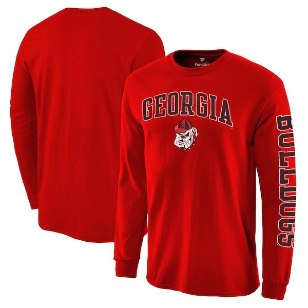 プロ並みの人気を誇る NCAAアーチオーバーロゴロングTEE NCAA セール品 ジョージア大学 ブルドックス Tシャツ ディストレス レッド ロングスリーブ デポー アーチ ロゴ