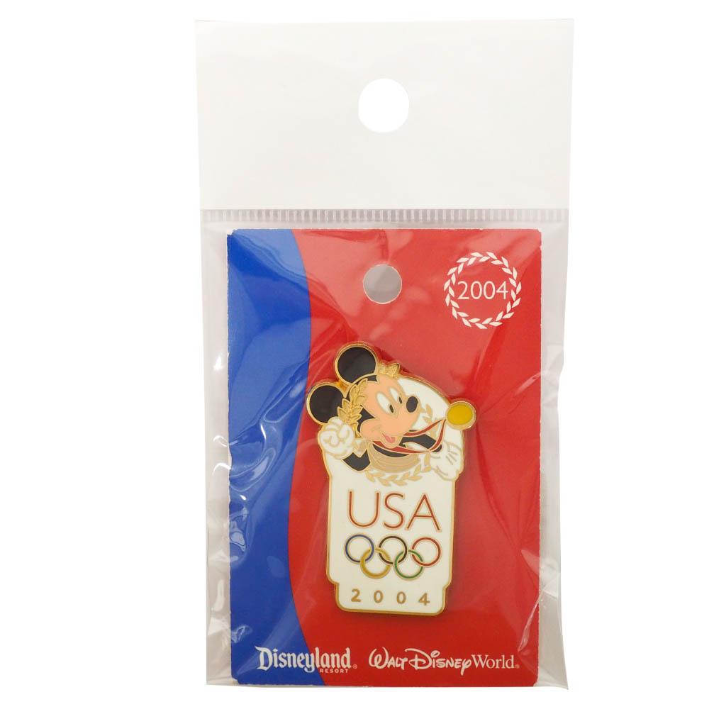 アメリカ代表 ディズニー 2004 アテネ USA Logo Pin : Mickey Mouse ピンバッチ ピンズ Disney
