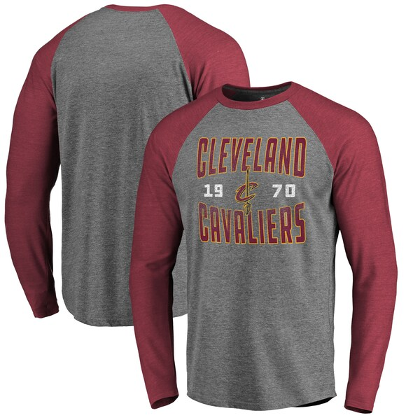 NBA クリーブランド・キャバリアーズ Tシャツ Antique Stack ラグラン ロングスリーブ Fanatics Branded アッシュ