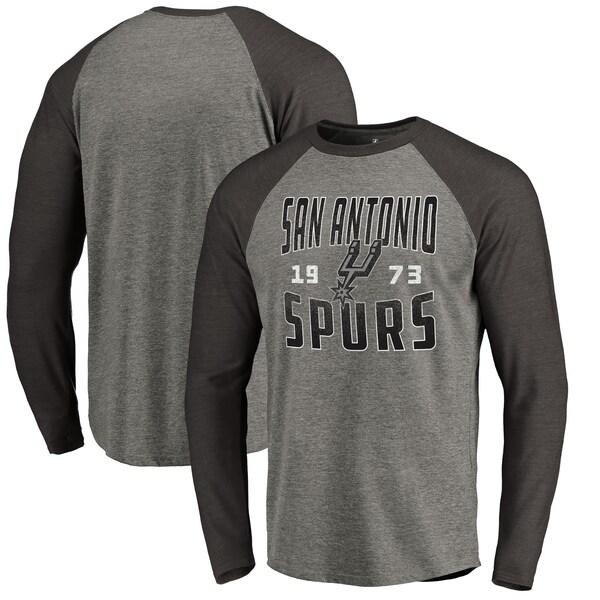 NBA サンアントニオ・スパーズ Tシャツ Antique Stack ラグラン ロングスリーブ Fanatics Branded アッシュ