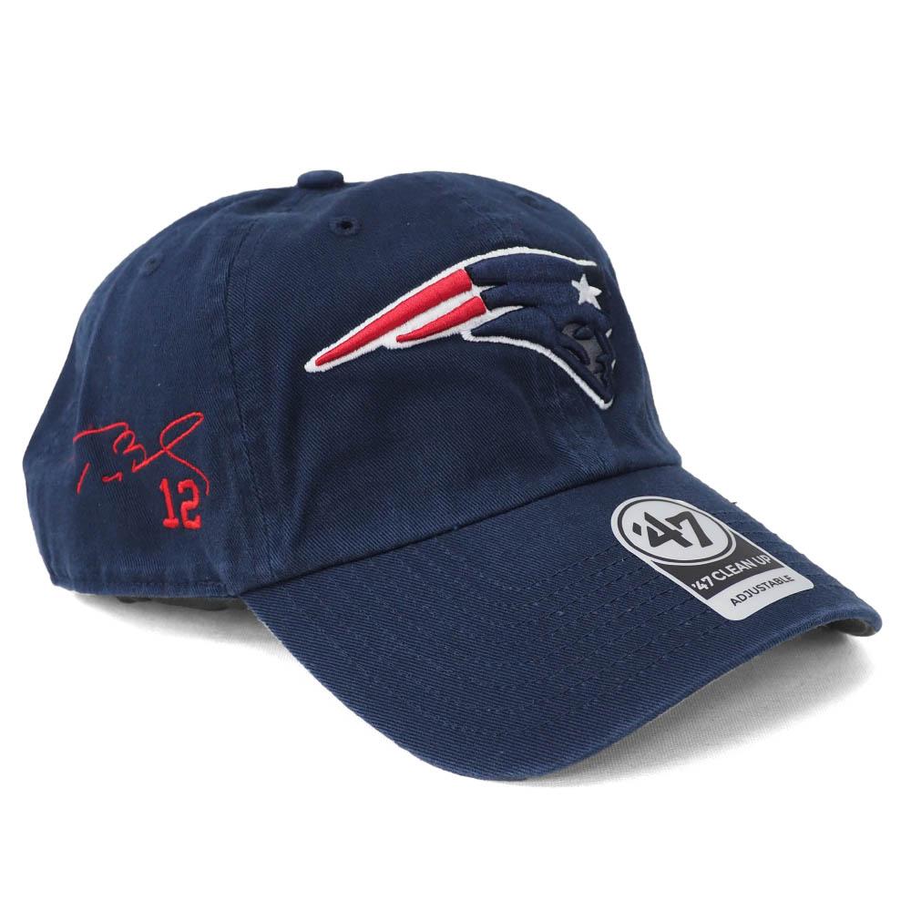 NFL トム・ブレイディ ペイトリオッツ キャップ/帽子 サイン刺繍入り クリーンアップ 47 Brand ネイビー
