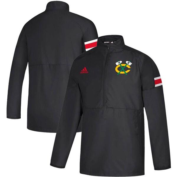 NHL ブラックホークス ジャケット/アウター Game Mode Quarter-Zip Pullover Jacket アディダス/Adidas ブラック