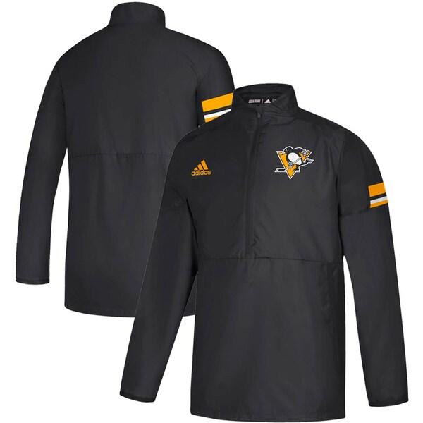 NHL ペンギンズ ジャケット/アウター Game Mode Quarter-Zip Pullover Jacket アディダス/Adidas ブラック