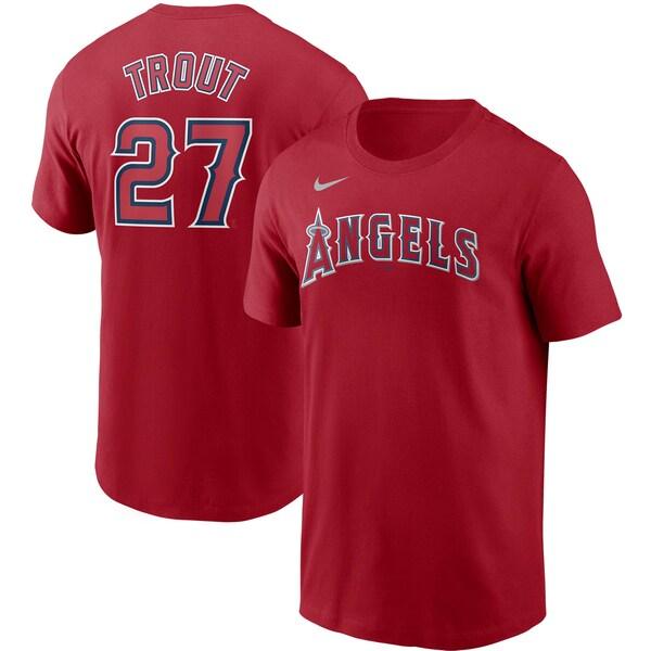<title>あす楽対応 セール価格 MLB x Nike ネームナンバー Tシャツ マイク トラウト ロサンゼルス エンゼルス ネーム ナンバー ナイキ レッド</title>