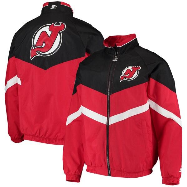 NHL デビルズ ジャケット/アウター ベンチ コーチ ラグラン フルジップ スターター/Starter Red/Black